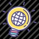 bulb, idea, light, think