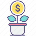 flowerpot, grow, growth, money, money tree icon