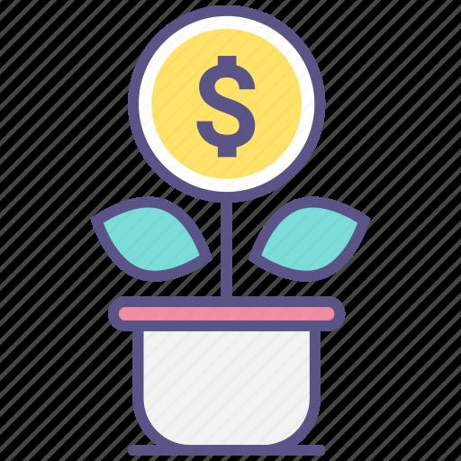 flowerpot, grow, growth, money, money tree icon