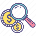 find, magnifier, magnifying glass, money, research, search icon