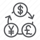 bank, currency, dollar, exchange, financial, pound, yen icon