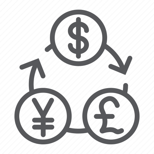 bank, currency, dollar, exchange, financial, pound, yen icon