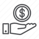 banking, coin, dollar, finance, funding, hand, money