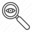 search, lens, surveillance, observation, eye, magnifier icon