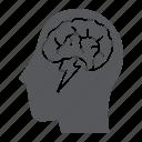 brain, brainstorm, creative, head, idea, thunder icon