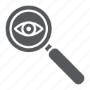 eye, lens, magnifier, observation, search, surveillance