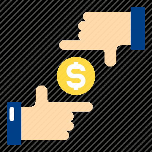 coin, dollar, finance, focus, hand, money icon