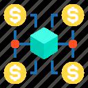 connection, dollar, finance, money, network, startup icon