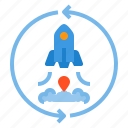 business, currency, investment, rocket, startup icon