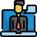 business, conference, finance, meeting, money, startup, video icon