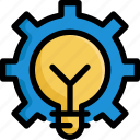 business, creative, creativity, gear, idea, lightbulb, startup icon