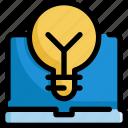 business, finance, laptop, lightbulb, office, startup icon