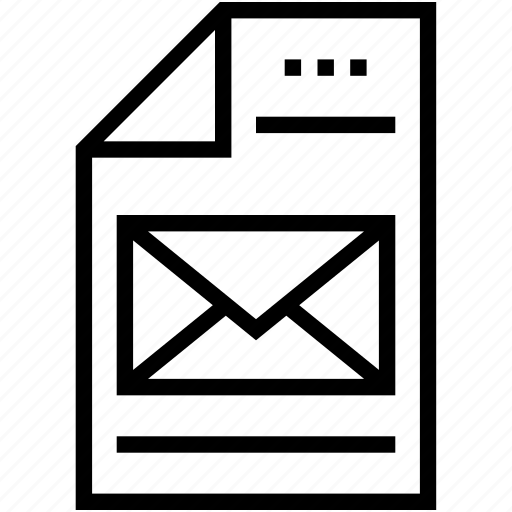 document, email, file, letter, mail icon