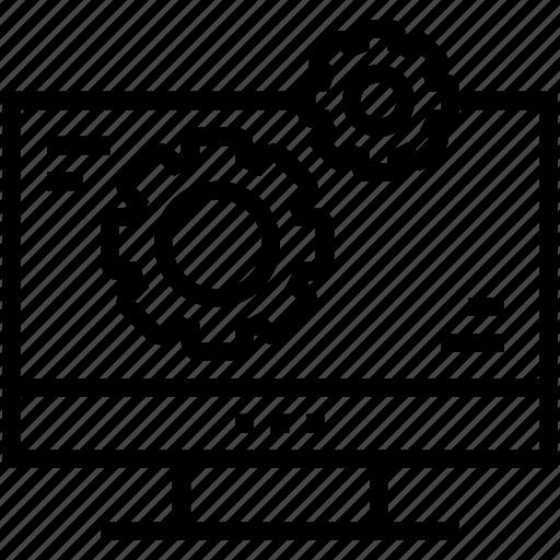 cogs, lcd, monitor configuration, monitor settings, web development icon