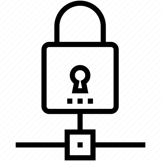 network security, padlock, private network, secure database, server security icon