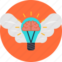 brain, business, creativity, idea, innovation, invention, wings