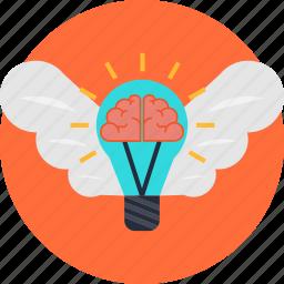 brain, business, creativity, idea, innovation, invention, wings icon