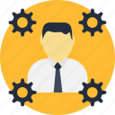 engine, man, management, manager, people, production, progress icon