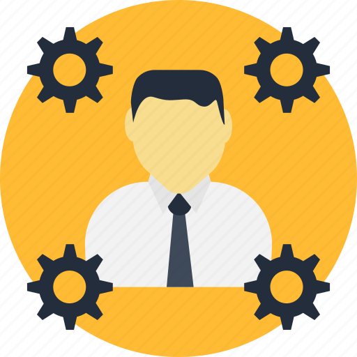 engine, man, management, manager, people, production, progress icon
