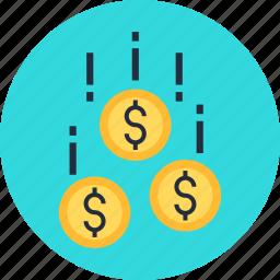 capital, coin, danger, fall, money, venture icon