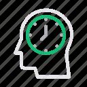 clock, head, mind, schedule, time