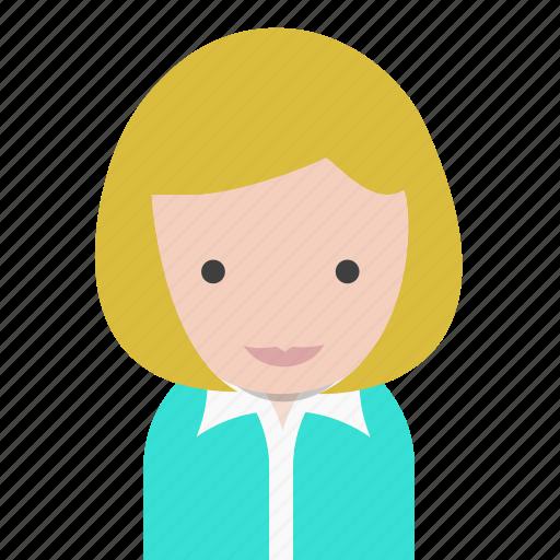 avatar, office, officeavatarblondeshorthair, startup, woman icon