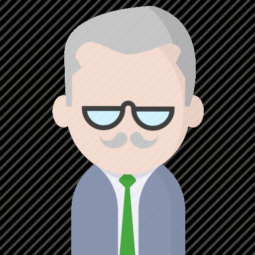 avatar, mustache, office, officeavatarglassesmustache, startup icon