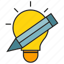 bulb, creative, design, idea, light, pencil, thinking icon