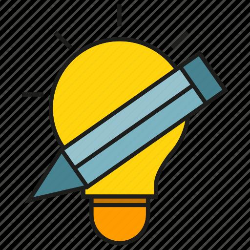 bulb, creative, design, idea, light, pencil, thinking icon