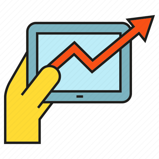 arrow, chart, graph, growth, hand, profit, tablet icon