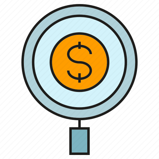 dollar, finance, magnifier, money, search icon