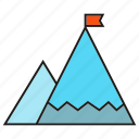 accomplishment, achievement, flag, height, mountain, success icon