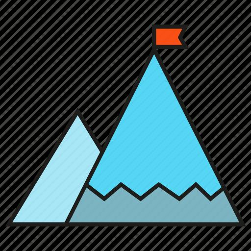 accomplishment, achievement, flag, height, mountain, success icon