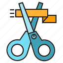 launch, opening, ribbon, scissors icon