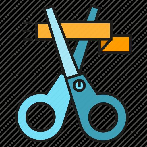 launch, opening, ribbon, scissors icon