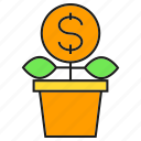 finance, fund, invest, money, plant, pot, seed icon