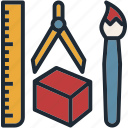 art, brush, design, ruler, tool icon