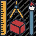 art, brush, design, ruler, tool