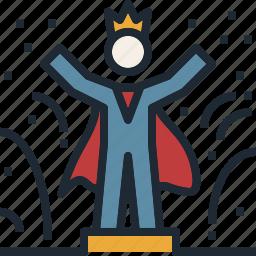 goal, king, leader, success, winner icon