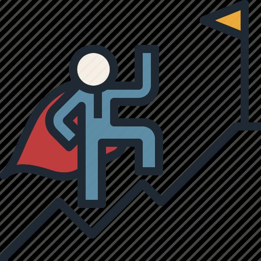 climb, mountain, risk, success, venture icon