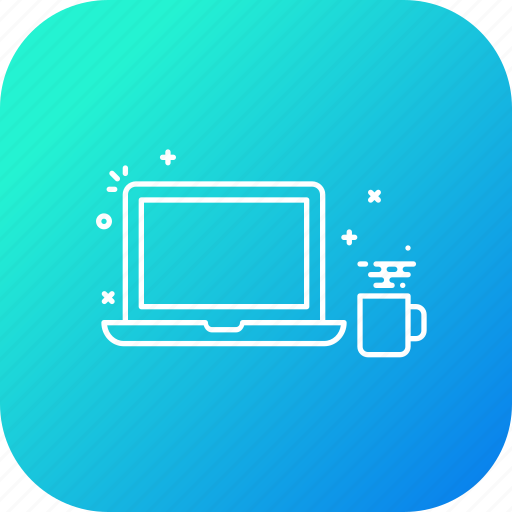 coffee, culture, laptop, startup, system, time icon