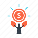 business, finance, growth, income, plant, profit icon