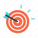 accuracy, aim, arrow, focus, goal, strategy, target icon