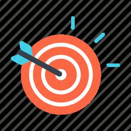 accuracy, aim, arrow, focus, goal, strategy, target icon