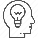 generation, head, idea, lamp, process, startup, think icon