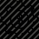 cogwheel, configuration, settings, dollar