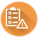 checklist, list, management, project, register, risk, warning icon