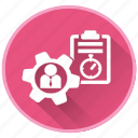 checkpoint, gears, management, project, report icon