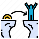 agile, cliff, jump, nimber, quick, success, win icon