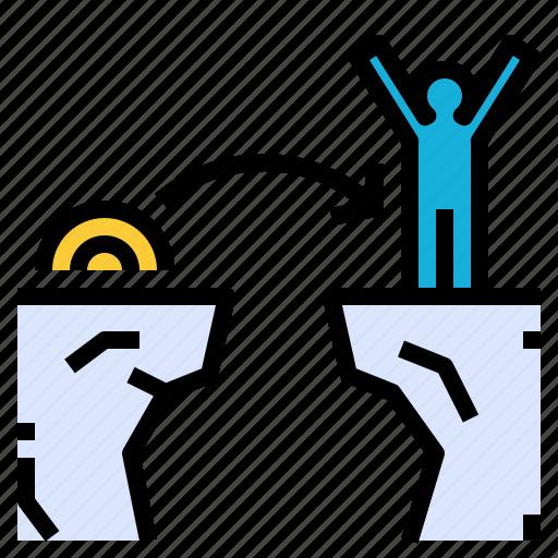 agile, cliff, jump, nimber, quick, success, win icon